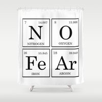 periodic table Shower Curtains featuring No Fear Elements Periodic Table by raineon