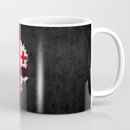 Flag of Georgia on a Chaotic Splatter Skull Coffee Mug