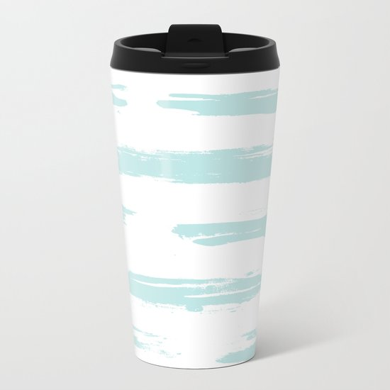Swipe Stripe Succulent Blue and White Metal Travel Mug