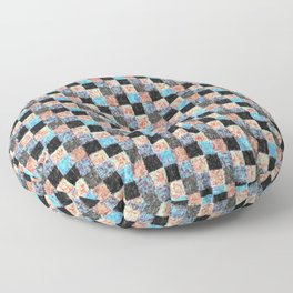 Peach Blue and Black Patchwork Floor Pillow