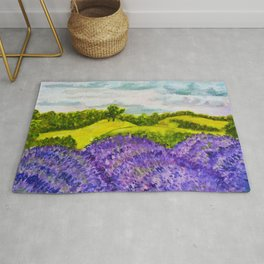 Lavender Fields Watercolor Rug