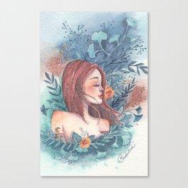 Flowers magic, girl portrait Canvas Print