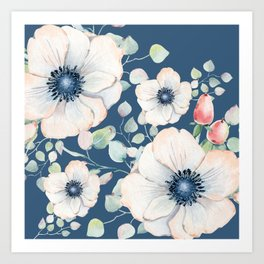 Summer Flowers Blue #society6 #buyart Art Print