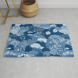Coral Reef in Classic Blue Rug