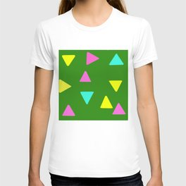 Colorful Triangles over Green T-shirt