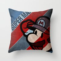 super mario Throw Pillows featuring SUPER MARIO by sbs' things