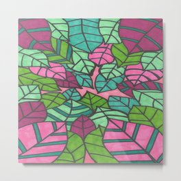 Pink and Green Palm Leaves Print Metal Print