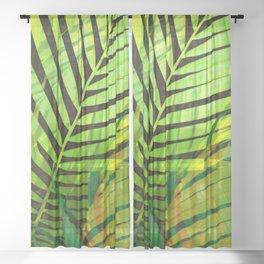 TROPICAL GREENERY LEAVES no1b Sheer Curtain