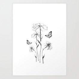 Flowers and butterflies 2 Art Print