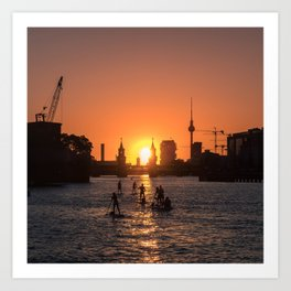 Berlin city skyline - sunset sky panorama Art Print