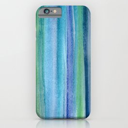 Blue and Green Watercolor Stripes - Underwater Reeds / Abstract iPhone Case