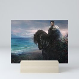 Knight on black Friesian horse Mini Art Print