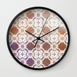 WHITE AND GOLD WATERCOLOR MOSAIC  Wall Clock