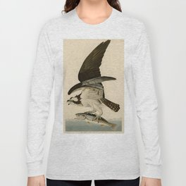 Vintage Osprey Catching a Fish Illustration (1838) Long Sleeve T-shirt