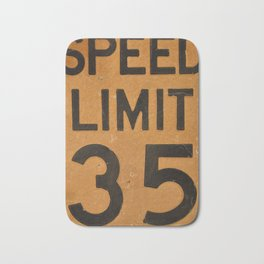 Close up of old speed limit 35 sign. Bath Mat