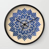 jazzberry blue Wall Clocks featuring ókshirahm sky mandala by Peter Patrick Barreda