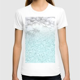 Pretty Turquoise Sparkles on Gray and White Marble T-shirt