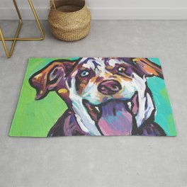 Fun Catahoula Leopard Dog bright colorful Pop Art painting by Lea Rug
