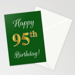"""Elegant """"Happy 95th Birthday!"""" With Faux/Imitation Gold-Inspired Color Pattern Number (on Green) Stationery Cards"""