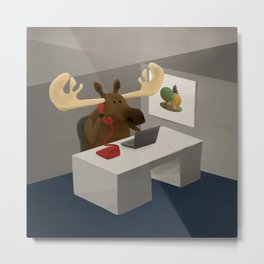 Maurice, the moose who wanted to work in an office Metal Print