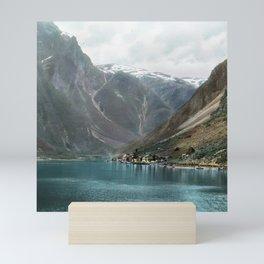Village by the Lake & Mountains Mini Art Print