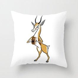 Springbok with a folding camera Throw Pillow