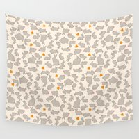 bunnies Wall Tapestries featuring Bunnies & Carrots by RED ROAD STUDIO
