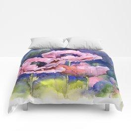 Watercolor Poppies Flowers Art Comforters