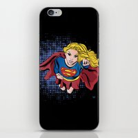 supergirl iPhone & iPod Skins featuring Supergirl by Waterflybooks