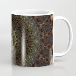 Ornamented mandala in green, red and brown tones Coffee Mug