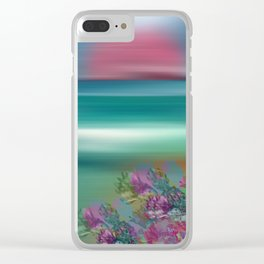 """Summer Beach Seascape"" Clear iPhone Case"
