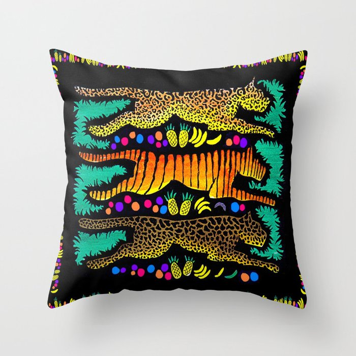 Leaping Felines Throw Pillow