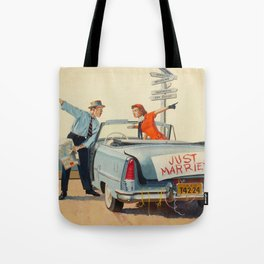 Just Married Retro Couple Tote Bag