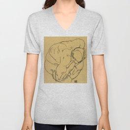 """Egon Schiele """"Crouching male nude"""" Unisex V-Neck"""