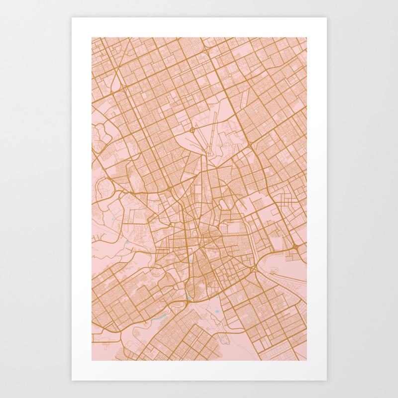 Riyadh map saudi arabia art print