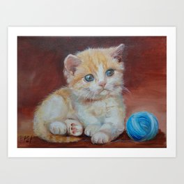 Little kitten playing with ball Cute red tabby cat portrait Oil painting on canvas Art Print