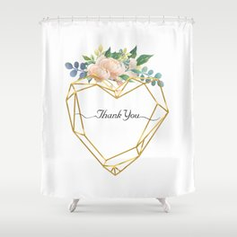 Graphic Heart and Flowers Shower Curtain
