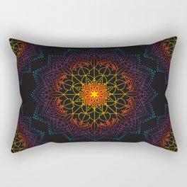 'Glowing Shamballa' Bohemian Mandala Black Blue Purple Orange Yellow Rectangular Pillow