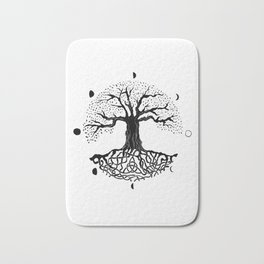 black and white tree of life with moon phases and celtic trinity knot II Bath Mat