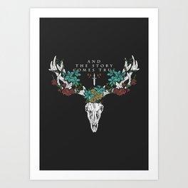 Deer Skull & Flowers Art Print