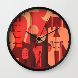 String Music Instrument Pattern Wall Clock