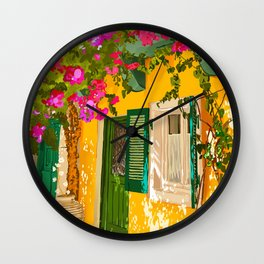 Living in the Sunshine. Always, Travel Sunny Summer Architecture Greece Spain Building Illustration Wall Clock