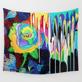 Rainbow Rose Wall Tapestry