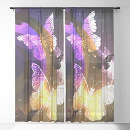 Whirlwind with Night Butterflies Sheer Curtain