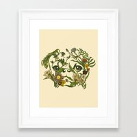 pug Framed Art Prints featuring Botanical Pug by Huebucket