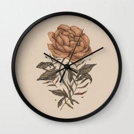 Peony and Ferns Wall Clock