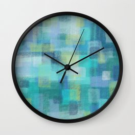 Blue Blocks by Jillian Amatt Designs Wall Clock