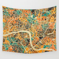 london map Wall Tapestries featuring London Mosaic Map #3 by Map Map Maps
