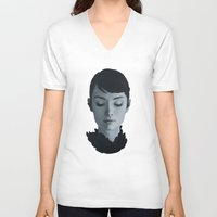 audrey V-neck T-shirts featuring Audrey by yurishwedoff