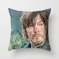 daryl dixon Throw Pillows featuring Daryl Dixon by Mark Satchwill Art